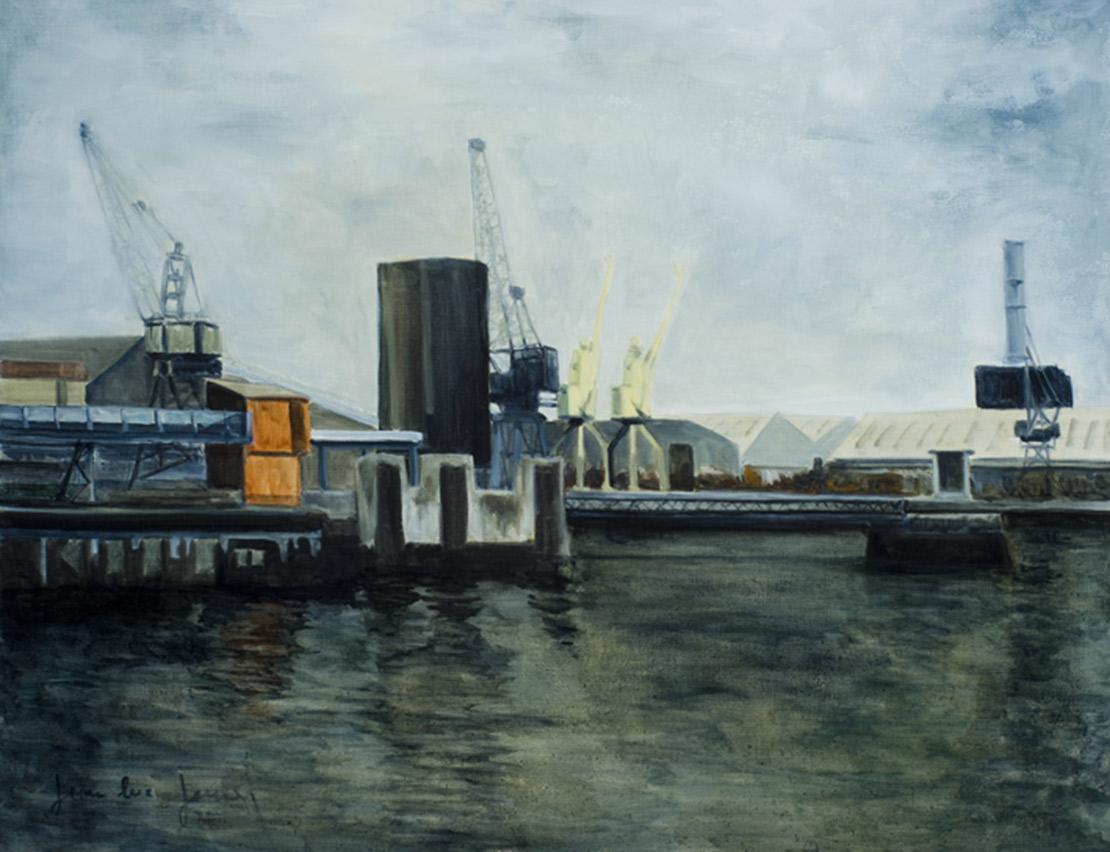 Le port de Dublin, 81 x 65 cm