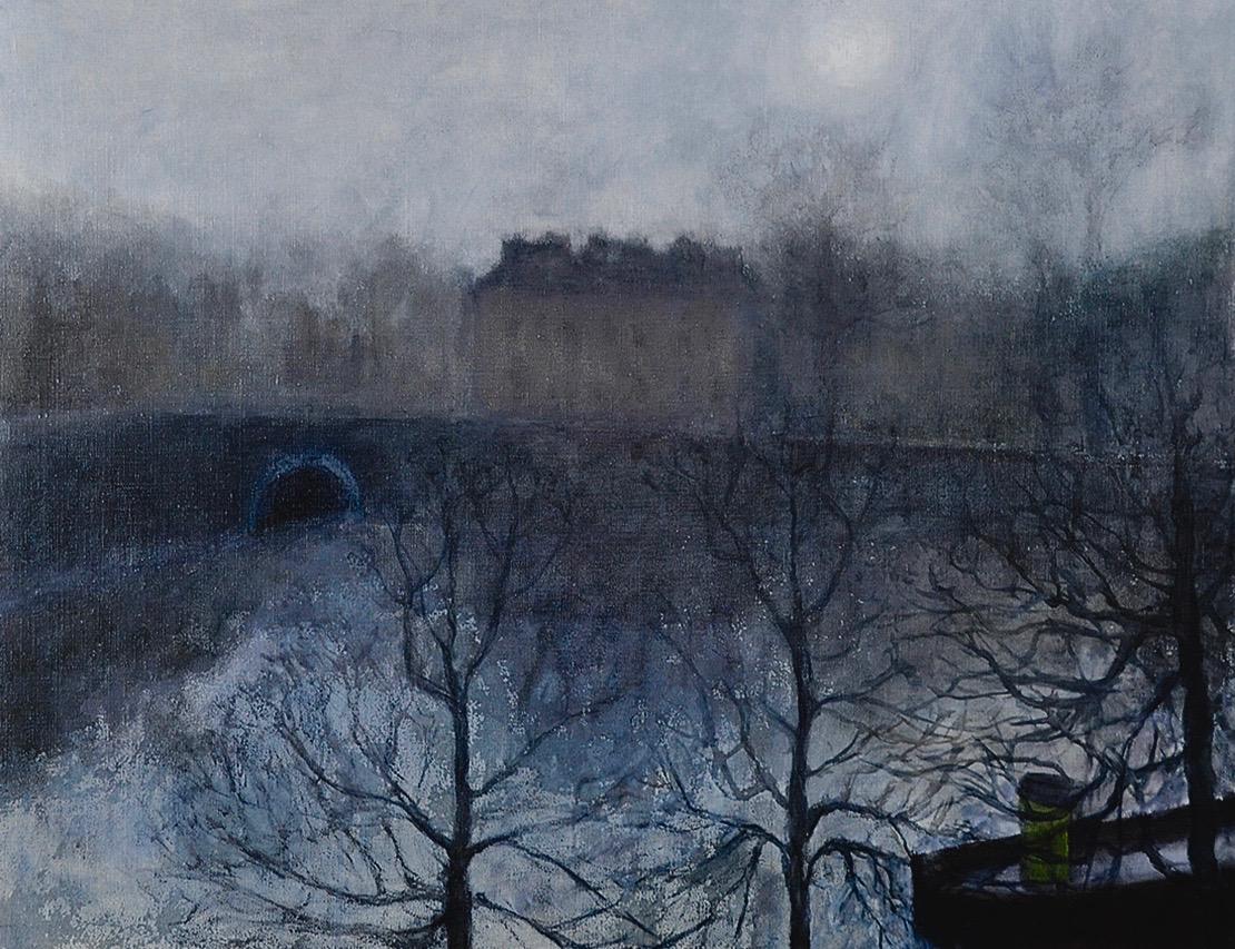 Brume de décembre sur l'Erdre (Nantes), 100 x 81 cm